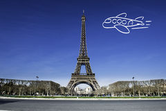 Paris Eiffel tower with plane drawing Stock Images
