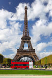 Paris, Eiffel tower with red bus, France Royalty Free Stock Image