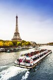 Paris  France. Tourists boat in a river