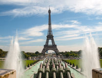 Paris - Eiffel Tower seen from fountain at Jardins du Trocadero Stock Image