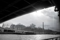 Paris Eiffel Tower from Seine. Cityscape in black and white royalty free stock images