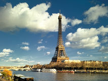 Paris - Eiffel tower and Seine river Stock Images
