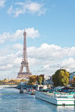 Paris, the Eiffel Tower and the Seine River in the fall on a sun Stock Images