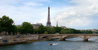 Paris - Eiffel tower and Seine river Stock Photos