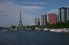 Paris. Eiffel Tower, Seine and Statue of Liberty Stock Image