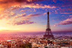 Paris Eiffel tower and skyline aerial France Royalty Free Stock Photo