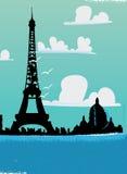 Paris Eiffel tower skyline. On a sunny Parisian day vector illustration