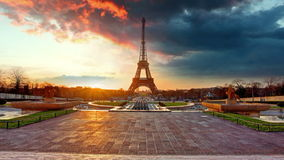 Paris, Eiffel tower at sunrise, Time lapse Royalty Free Stock Images