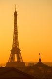 Paris Eiffel Tower Sunset Stock Photo