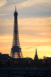 Paris Eiffel Tower at sunset Stock Image