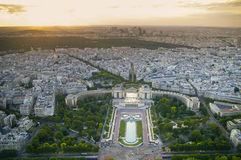 Paris from eiffel tower.trocadero. Paris from eiffel tower, the Siene river and les invalids, ecole militar Stock Photos