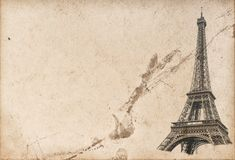 Paris Eiffel tower Used paper texture Royalty Free Stock Images