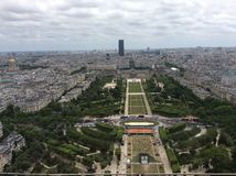Paris from the Eiffel tower. View from the middle section of the Eiffel tower, looking to the Champ de Mars Royalty Free Stock Photography