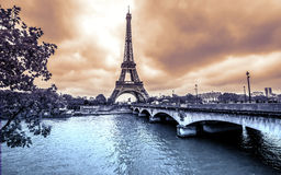Paris Eiffel Tower view from Seine. Vintage Royalty Free Stock Images
