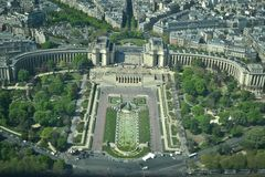 Paris Eiffel Tower view. View from the Eiffel Tower shows how big and beautiful is Paris Royalty Free Stock Photography