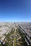 Paris From The Eiffel Tower. A view of Paris from the top level observation floor of the Eiffel Tower royalty free stock image