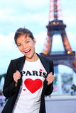 Paris Eiffel tower woman happy. And excited in front of the Eiffeltower, Paris, France Stock Photos