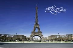 Paris-Eiffelturm mit flacher Zeichnung Stockbilder