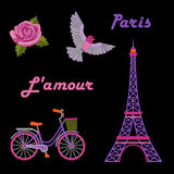 Paris embroidery set. With Eiffel tower on black background royalty free illustration