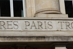 Paris engraved in stone sign Royalty Free Stock Image