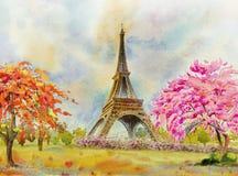 Paris European city. France, eiffel tower watercolor painting. Paris european city famous landmark of the world. France eiffel tower and flower pink, red color royalty free illustration