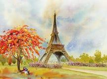 Paris European City. France, Eiffel Tower Watercolor Painting. Stock Photo