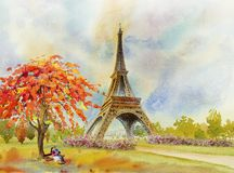 Paris European city. France, eiffel tower watercolor painting. Paris European city landmark. France, Eiffel tower and couple lovers man woman, sitting on the royalty free illustration