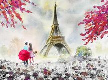 Paris european city landscape. France, eiffel tower and couple l. Overs man, woman, umbrella red, Modern art,daisy flower garden trees. Watercolor painting stock illustration