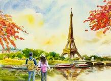 Paris european city landscape. France, eiffel tower. vector illustration