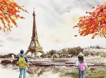Paris european city landscape. France, eiffel tower. Paris european city landscape. France, eiffel tower and man, woman, tourist take photos for vacation vector illustration