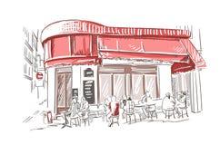 Paris european restaurant vector sketch illustration french vector illustration