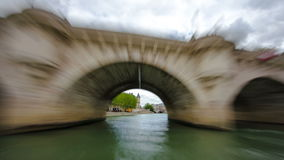 Paris. The excursion motor ship floats down the. River Seine in the cloudy spring day timelapse 4K part 7 stock footage
