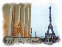 Paris a fait dans le style d'aquarelle Photo stock