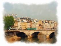 Paris a fait dans le style d'aquarelle Photographie stock