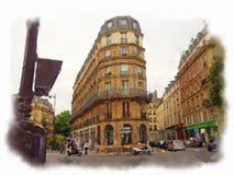 Paris a fait dans le style d'aquarelle Image libre de droits
