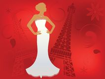 Paris Fashion. Woman (bride) in Paris - tower behind couture fashion Royalty Free Stock Photos
