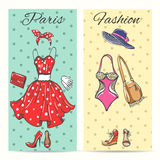 Paris fashion clothes cards Stock Photos