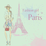 Paris Fashion girl near Eiffel Tower Stock Images
