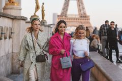 Paris Fashion Week - street style - PFWAW19. Paris, France - February 27, 2019: Street style outfit - Fashionable girls posing in front of Eiffel Tower during stock photo