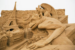 Paris. Figure « Paris» from a collection of sculptures from sand on a theme of «World cities», in park Kolomna cities of Moscow Stock Photo