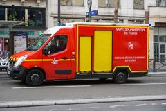 Paris Fire Brigade firetruck. Paris, France - March 18, 2019: Sapeurs-pompiers de Paris firetruck. Paris Fire Brigade is a French Army unit which serves as the stock photography