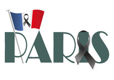 Paris flag ribbon. French flag and Paris with a black ribbon Stock Photography