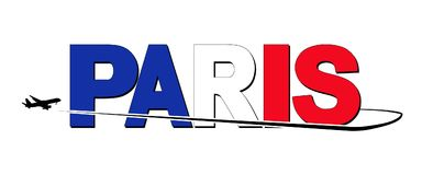 Paris flag text with plane silhouette and swoosh illustration. Paris flag text with arriving plane silhouette and swoosh illustration royalty free illustration