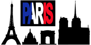 Paris flag text and landmarks Royalty Free Stock Photo
