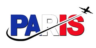 Paris flag text with plane and swoosh illustration Royalty Free Stock Photo