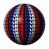 Paris flag text sphere Royalty Free Stock Images