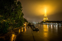 Paris Flood. Flooding Seine River with Eiffel Tower on the background Royalty Free Stock Image
