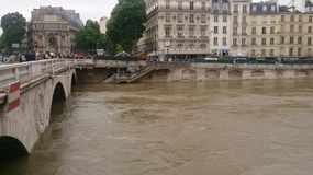 Paris in flood. View of Petit Pont Little Bridge in flood Royalty Free Stock Photo