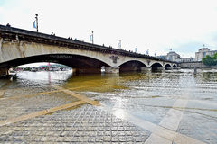 Paris floods with Seine river level dropped to normal Royalty Free Stock Image