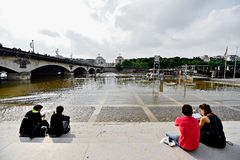 Paris floods with Seine river level dropped to normal Royalty Free Stock Photo